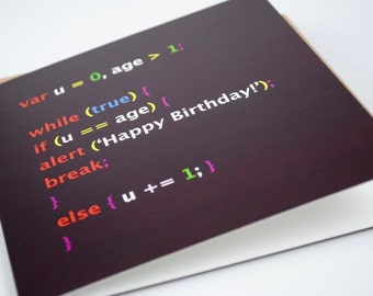 Geek birthday card, Javascript birthday Card, Computer birthday card, programmer birthday card