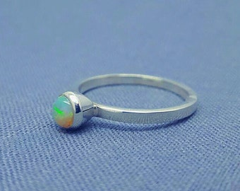 Solid 925 Sterling Silver, Opal Stackable Ring