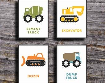 Construction Truck Prints, Dump Truck Wall Art, Construction Trucks Nursery Art, Boys Nursery Art