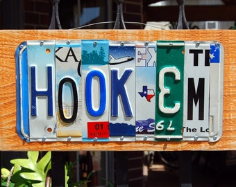 HOOK'EM / UT - custom made University of Texas Longhorn license plate sign