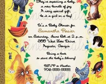 Little Golden Book Baby Shower Invitation, Golden Book Shower Invite, Golden Book Baby Shower Invitation