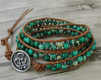 Green bead wrap bracelet terra jasper wrap bracelet leather wrap bacelet bead stack bracelet BOHO bead leather bracelet bead Jewelry SL-0422