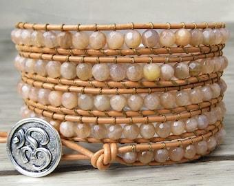 5 wrap bracelet peach moonstone Sunstone gems beads wrap bracelet boho beaded bracelet yoga wrap bracelet beads jewelry SL-0133