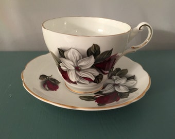 Regency English Bone Chine Tea Cup White and Red Flower