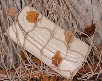 Envelope bag - White leather clutch - Envelope clutch - Leather envelope bag - White handbag - Vintage handbag - Evening bag - Gift idea