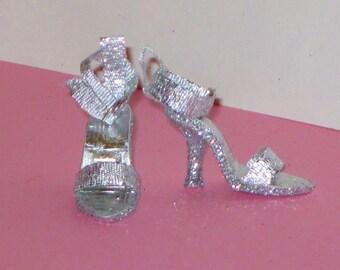 Gene Marshall shoes SLEEK SILVER shoes for Gene Marshall, Madra, Ashton Drake dolls, Violet, 16 inch fashion doll, high heel doll shoes