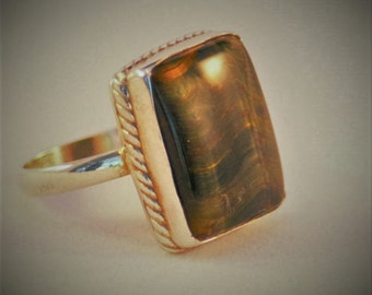 Blue & Gold Tiger Eye - 925 Sterling Silver Mens ring, Size 9
