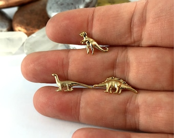 HANDMADE Dinosaur Earrings, Dinosaur Stud Earrings, 24k Gold Dinosaur Stud earrings, Gold over Fine Silver, Stud Earrings, Tiny Earrings