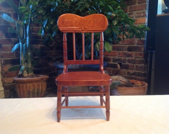Vintage Doll Furniture Pressed Back Chair