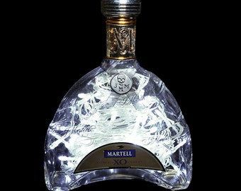 Martell XO Extra Old Cognac 70cl 700ml Upcycled LED Bottle Lamp Light by JayEngrave