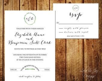 Green Wreath Wedding Invitation Custom Printable