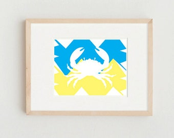 Cute Print Art Crab Beach