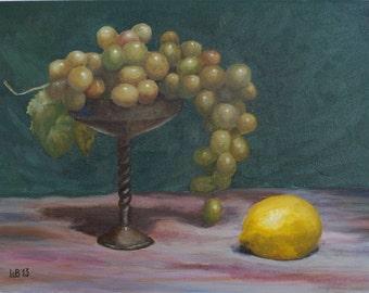 Original oil painting Still life with lemon original art home decor fine art  original painting original artwork handmade art lemon grapes