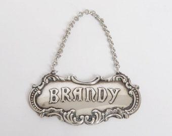 "Gorham Sterling 349 Decanter Tag, ""Brandy"""
