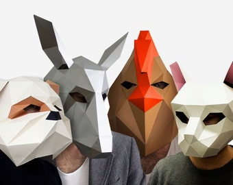 Bremen musicians, Cat, Dog, Donkey, Rooster Head,Instant Pdf download, DIY  Paper Mask, Printable Mask
