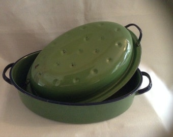 Vintage Covered Green Enamelware Roasting Pan