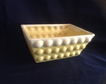 Vintage Yellow Bubble Ceramc Planter