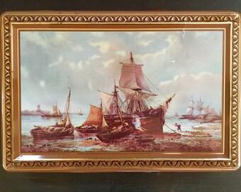 Vintage Côte D'Or Tin Box; Ship Tin; Candy Tin; Pirate Ship