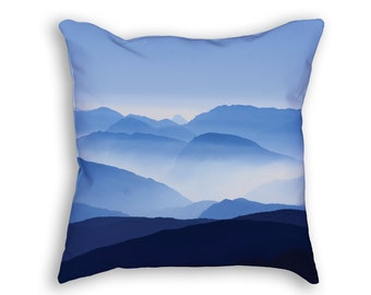 Blue Mountains in Fog Throw Pillow, Shades of Blue Decorative Accent Pillow