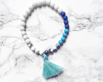 AQUA • minimal, matte cobalt blue bracelet with white marble jade detail | mini prayer mala •