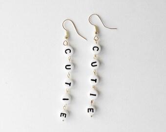 Cutie Letters Earrings | Silver Plated Earrings