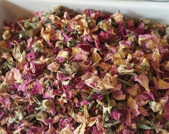 Pink rose buds and petals 4 cups dried pink rose petals and buds wedding rose buds soap making supplies candle making supplies tea blending
