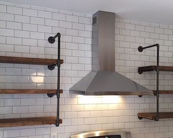 """Industrial Wall Unit 24"""" wide with three shelves. Urban Industrial floating shelves."""