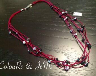 Νeclace, sort neclace, agate beads, cord, bordeaux