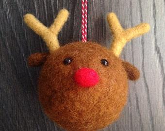 Reindeer Christmas Decoration * Bauble * Needle Felt *