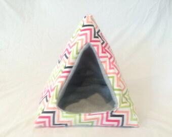 Cozy Pyramid; Cozy Tent; Snuggle Tent; guinea pig, hedgehog, ferret, rat, gerbil, bunny; chevron on grey