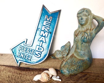 Mermaid Sign - Mermaid Wall Decor - Girl Nursery Decor  - Nautical Bathroom Decor - Nautical Girl Nursery - Mermaid Wall Art - Beach Bedroom