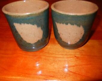 Pair of Green Leaf Mugs