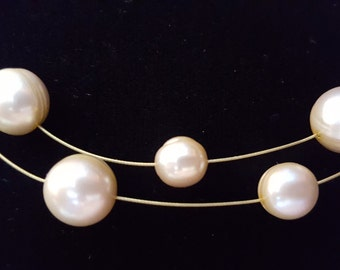 Vintage honora double strand floating freshwater pearls minimalist retro 70s necklace