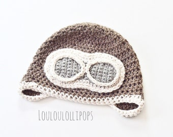 Crochet Aviator Hat - pilot hat, kids aviator hat, aviator gifts, crochet hats, gifts for airplane lovers, airplane hat, plane hat, goggles