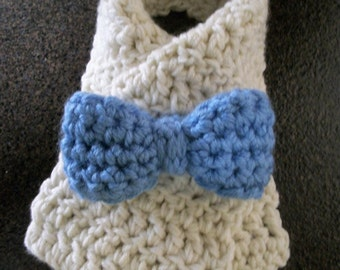 Crochet Bow Button Scarf