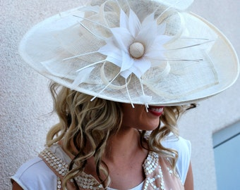 Ivory Derby Hat, Tea Party Hat, Formal Hat, Chruch Hat, Fashion Hat, Church Hat, Derby Hat, Wedding Hat, Funeral Hat, Turquoise Hat