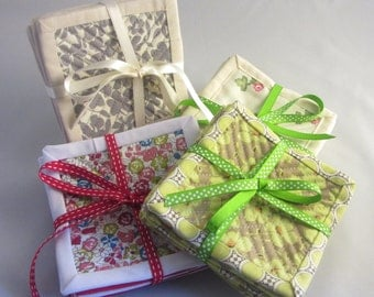 Handmade Quilted & Bound Coaster Set