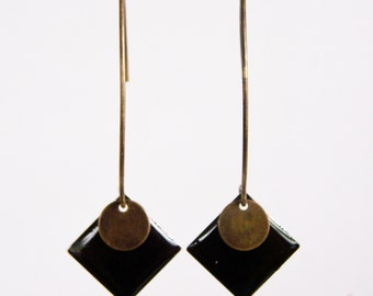 Black enameled diamond earrings