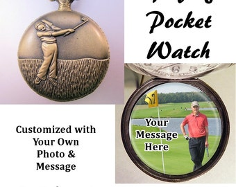 """Custom Made Golfing Golfer Pocket Watch Personalized Message & Photo w/31"""" Chain OR 14"""" Belt Chain Vintage Style"""