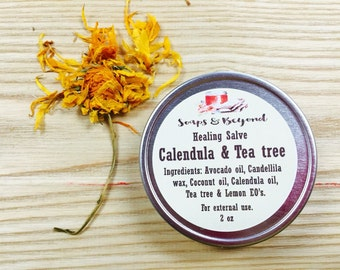 Calendula & Tea tree oil Salve, ointment, lemon essential oil,  unguento te de arbol