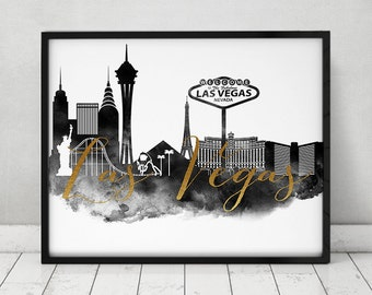 Las Vegas black and white print, watercolor poster, faux gold text, Wall art Las Vegas skyline, Nevada city prints, travel, ArtPrintsVicky