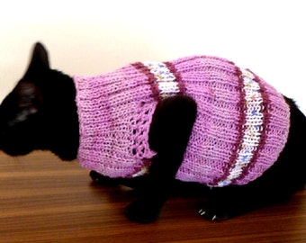 CAT SWEATER, hand knitted in rib.
