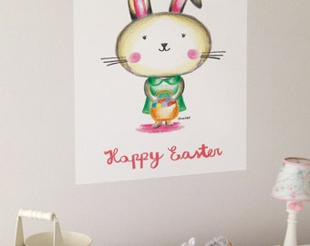 Happy Easter Printable, DIY Easter print, Easter bunny printable, Easter decor, INSTANT DOWNLOAD