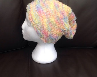 Ladies Soft, Fluffy Rainbow Slouchy Hat