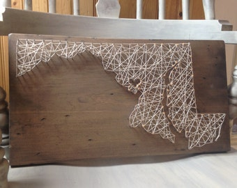 Maryland State String Art - Can Be Customized - Chesapeake Bay - Maryland Sign  - Baltimore - Home Decor - Wooden Sign - Handmade