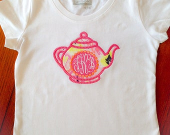 Personalized Appliqué Teapot T-Shirt