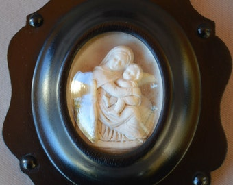 French Reliquary Medallion Wall Art - Raphael Madonna & Child Jesus Virgin - Black Frame
