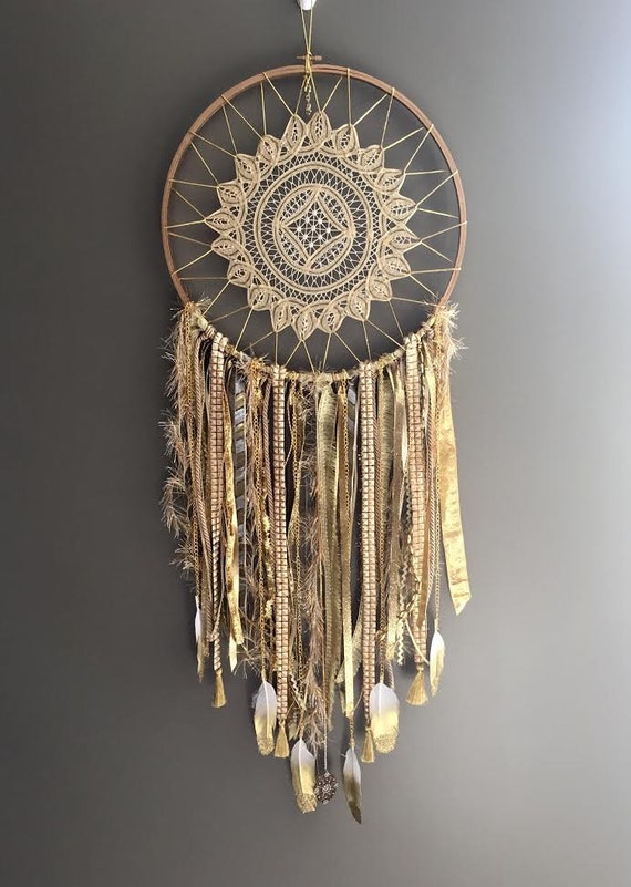 Large all gold dream catcher 14d x 36 l for What do dreamcatchers do