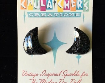 Medium Black Boomerang Lucite Earrings