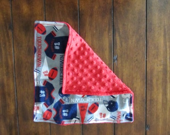 Red, White, And Blue Touchdown Football Security Blanket/Lovey, Minky Lovey, Baby Shower Gift